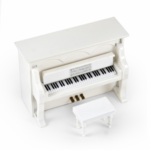18 Note Musical Hi-Gloss White Upright Piano With Bench