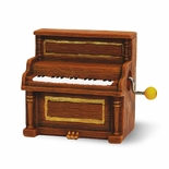 Miniature Vintage Upright Piano Hand Cranked Musical Figurine
