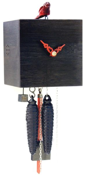 """Modern VDS Certified 1 Day Black Bamboo Romba Art Cuckoo Clock by Rombach and Haas (Extra 20% Off Sale Price - Code """"romba20"""")"""