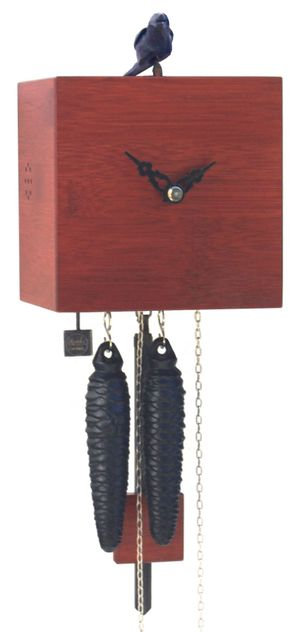 """Modern VDS Certified 1 Day Red Bamboo Romba Art Cuckoo Clock by Rombach and Haas (Extra 20% Off Sale Price - Code """"romba20"""")"""