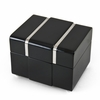 Modern 22 Note Black Lacquer Musical Jewerly Box with Chrome Accents