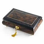 Modern 30 Note  2 Toned Classic Matte  Style Burl Elm with Rosewood Border Music Box