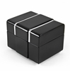 Modern 30 Note Black Lacquer Musical Jewerly Box with Chrome Accents