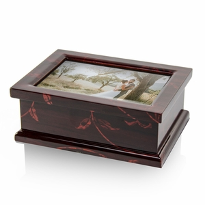 Modern 4 x 6 Photo Frame Musical Jewelry Box with Floral Motifs