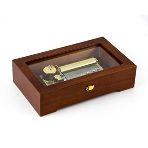 Modern 50 Note Sankyo Music Box with Glass Display Panel