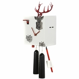 "Modern VDS Certified 8 Day Black Stag Head in White with Red Accents Romba Art Cuckoo Clock by Rombach and Haas (Extra 20% Off Sale Price - Code ""romba20"")"