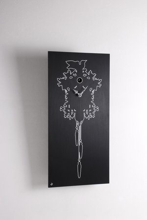 Modern Art White Outline on Ebonized Wood of a Traditional Cuckoo Clock - Cu_Cu  by Progetti