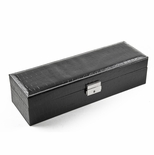 Modern Black Croc Skin Faux Leather Panel Rectangular Watch Box