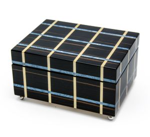 Modern Blue and Beige Line Inlay 22 Note Musical Jewelry Box