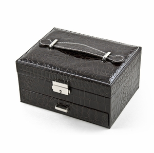 Modern Brown Croc Skin Faux Leather Jewelry Box with Nickel Plated Hardware