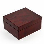Modern Hi Gloss 18 Note Burl Wood Jewelry Box