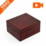 "Classic Unique Wood 18 Note Burl w. 3.6"" LCD Video Music Jewelry Box - SALE"
