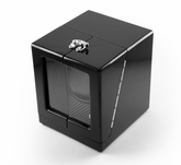 Modern Hi Gloss Black Single Rotor Watch Winder (1) with Carbon Fiber Interior