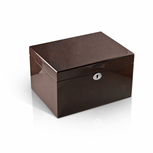 Modern Hi Gloss Coffee Tone 22 Note Music Jewelry Box