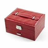 Modern Red Croc Skin Faux Leather Jewelry Box with Nickel Plated Hardware