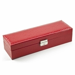 Modern Red Croc Skin Faux Leather Panel Rectangular Watch Box