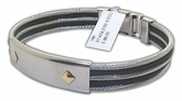 Modern Stainless Steel, Men's ID Style Bracelet With 18K Diamond Shaped Gold Accents