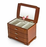 Modern Wood Tone 18 Note Ballerina 3 Tiered Musical Jewelry Box -  - Easy Song Selection
