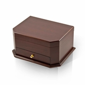 Modern Wood Tone Cut Corner Ballerina Musical Jewelry Box