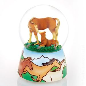 Mother & Baby Horse on the Range by Twinkle Water globes