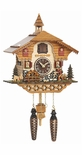 Musical Black Forest Quartz Chalet Style Cuckoo Clock with Animated Happy Wanderer and Water Mill