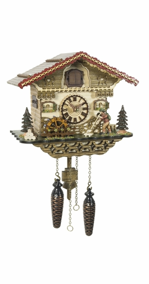 Musical Black Forest Quartz Chalet Style Cuckoo Clock with Animated Wanderer and Mill-Wheel
