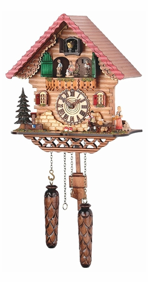 Musical Black Forest Quartz Chalet Style Cuckoo Clock with Wanderer