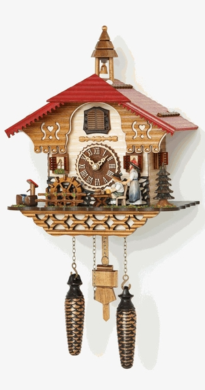 Musical Quartz Chalet Cuckoo Clock with Black Forest Women by Trenkle Uhren