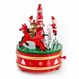 Musical Rotating Christmas Characters on Wooden Horses Holiday Keepsake