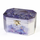 Octagonal Children�s Silver and Purple Castle Spinning Ballerina Musical Jewelry Box