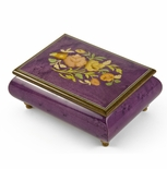 Old World 22 Note Italian Violet Floral Music Jewelry Box