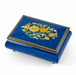Old World 30 Note Italian Blue Floral Music Jewelry Box