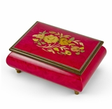 Old World 30 Note Italian Red Floral Music Jewelry Box