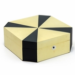 One of a kind Hand-made Black and Blonde Art-Deco Style Octagon Jewelry Box