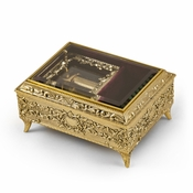 Ornate Gold Engraved Ornament Body with Glass Panel Top 30 Note Music Box