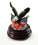 Patriotic American Bald Eagle with Dual USA Flags Musical Figurine