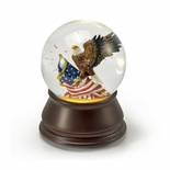 Patriotic American Eagle with American Flag Musical Water Globe
