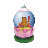 Peace Frog on Lotus Flower Musical Waterglobe