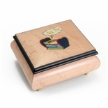 Peaceful Baby Counting Sheep Inlay Pink 18 Note Musical Jewelry Box