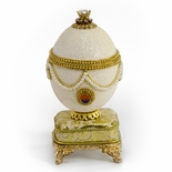 Pearl and Gold Beaded Musical Goose Egg with Jewel with Miniature 18 Note Movement