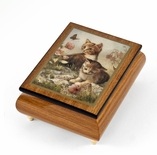 "Playful Natural Wood Tone Ercolano Music Jewelry Box - ""Kitten Frolic"" by Brenda Burke"