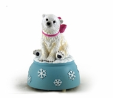 Polar Bear with Pink Bow Musical Figurine