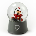 Precious Little Piggys Wedding Couple Sitting in Rose Bud 18 Note Musical Snow Globe