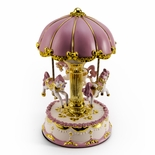 Pretty Pink Canopy with Gold Accents Animated Musical Carousel Keepsake