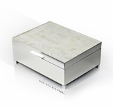 Pristine 18 Note Mother of Pearl with Silver Base Musical Jewelry Box