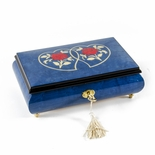 Radiant 18 Note Dark Blue Double Heart with Red Roses Inlay Music Jewelry Box