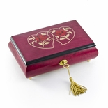 Radiant 18 Note Double Hearts with Red Rose Raspberry Musical Jewelry Box
