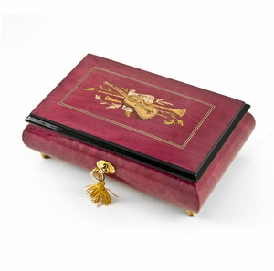 Radiant 22 Note Red Wine Violin Inlay Musical Jewelry Box