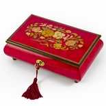 Radiant 30 Note Italian Red Wine Floral Inlay Musical Jewelry Box with Lock and Key