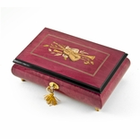 Radiant 30 Note Red Wine Violin Inlay Musical Jewelry Box